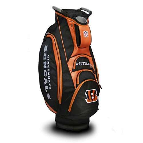 Team Golf NFL Cincinnati Bengals Victory Golf Cart Bag, 10-way Top with Integrated Dual Handle & External Putter Well, Cooler Pocket, Padded Strap, Umbrella Holder & Removable Rain Hood