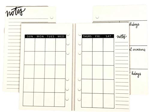 Monthly Non Dated Calendar Inserts Double Sided 24 Sheets, 6 Ring Personal Binder ()