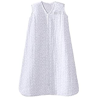 HALO 100% Cotton Muslin Sleepsack Wearable Blanket, Circles Grey, Medium