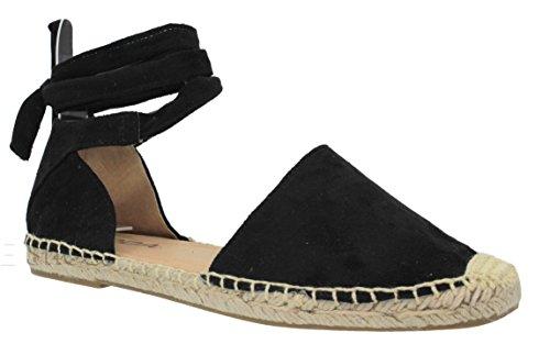 MVE Shoes Women's Lace Up Sandals - Faux Leather Cute Summer Sandals -Wrap Gladiator Flat Sandals, Black IMSU Size 7