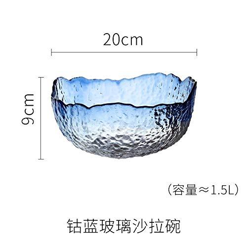Fruit Pan Living Room Household Crystal Glass Salad Bowl Fruit Pot , Cobalt Blue Salad Bowl-