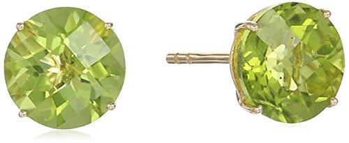 10k Yellow Gold Peridot Round Martini Stud Earrings