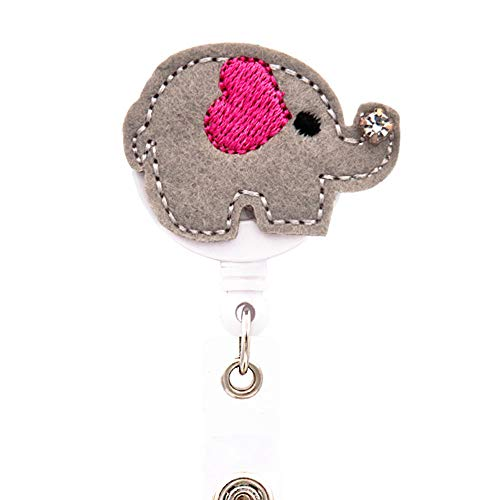 - Ascrafter Cute Elephant Retractable Id Name Card Badge Reel(Grey)