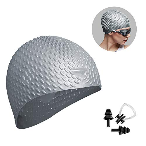 (Trevoz Swim Cap Women Silicone Swimming Cap for Long Hair Curly/Braids Hair Unisex Adult Kids Bathing Cap, Keep Hair Dry with Nose Clip and Ear Plugs (Grey))