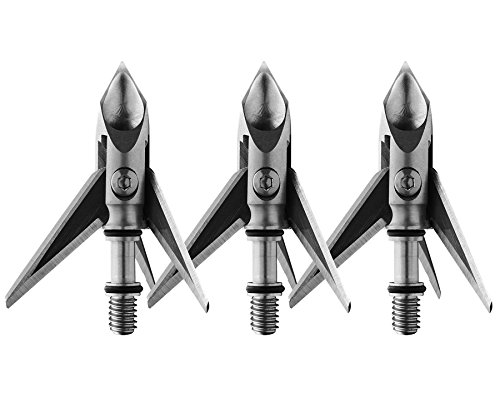 Ramcat Hydroshock Pivoting Broadheads - 100 Grain, Silver/Stainless Steel, Front & Rear Sharpened Blades - (3 Pack)