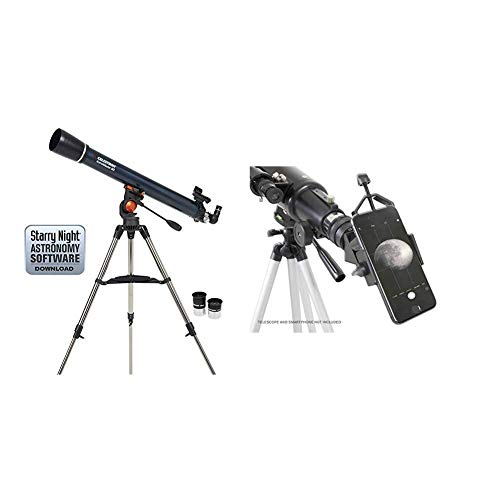 "Celestron 21063 AstroMaster 90 AZ Refractor Telescope with Celestron 81035 Basic Smartphone Adapter 1.25"" Capture Your Discoveries, Black"