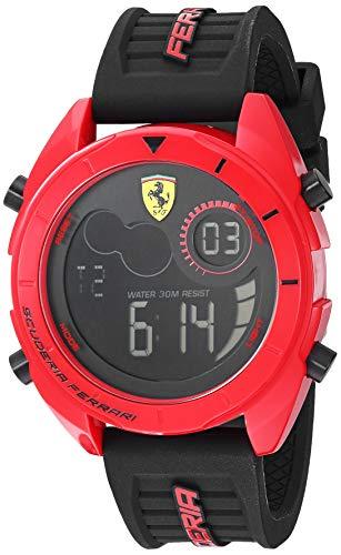 Ferrari Men's Forza Quartz Watch with Silicone Strap, Black, 22 (Model: 0830549)