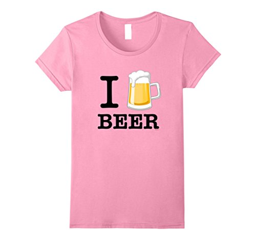 Womens I Love Beer T-Shirt, Beer Glass Tee Shirt Large Pink