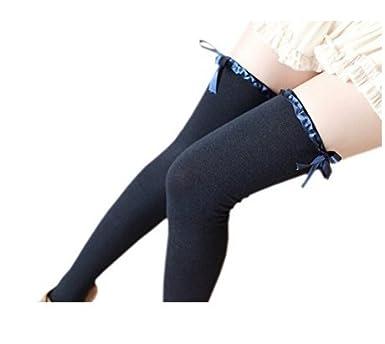 0d23cdfa9 NAVY BLUE Thigh High Socks Over Knee Girls Cotton Long Socks Leg Warmers  Stockings  Amazon.co.uk  Clothing