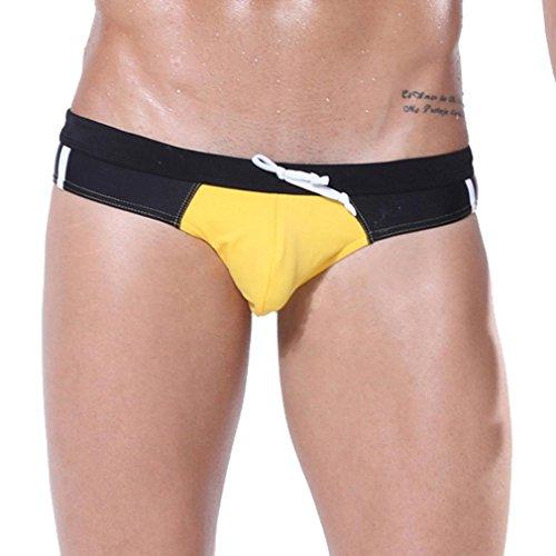Honghu Maillots de Bain Breathable Swim Slips Homme Size M Jaune