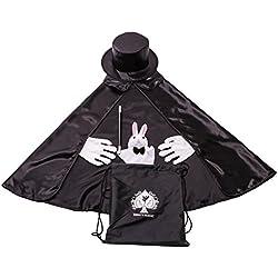 Kids Beginner Magician Costume Set w/ Storage Bag - Cape, Wand, Gloves, Magic Hat and Trick Rabbit Puppet