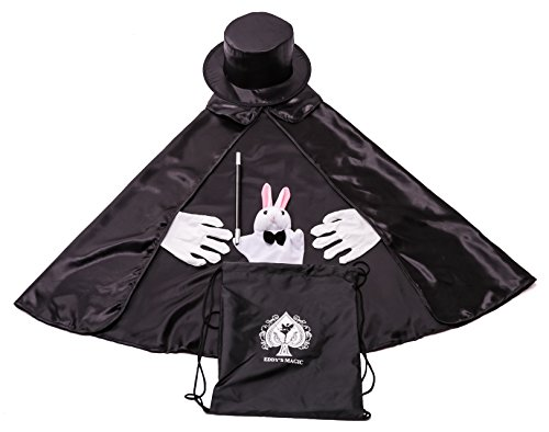 Kids Beginner Magician Costume Set w/ Storage Bag - Cape, Wand, Gloves, Magic Hat and Trick Rabbit Puppet (Costume Storage compare prices)