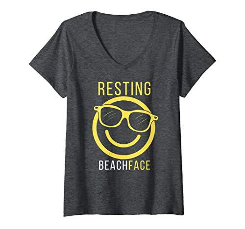 Womens Aloha Beaches Pineapple Palm Tree Yellow Resting Beach Face  V-Neck T-Shirt
