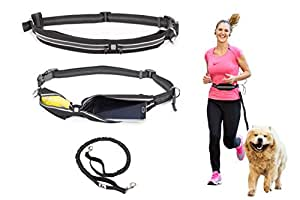 Paw Elite Hands Free Dog Running Leash with Adjustable Waist Belt for Medium to Large Sized Dogs
