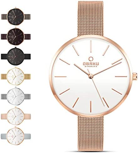 Obaku Womens Classic and Modern Dress Watch with Stainless Steel Mesh Band in Black, Blue, Silver, Gold and Rose Gold or Leather Band in Blue and Pink   Scratch & Water Resistant   36MM 3-Handed Watch