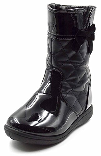 Bow Detail Leather - Simply Petals Girls Cute Amour PU Leather Boot with Diamond Detail and Bow (Toddler) in Black Size: 5 Toddler