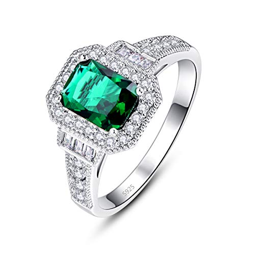 (Emsione Women's 925 Silver Plated Radiant Cut Created Emerald Quartz and Round White Topaz Eternity Brilliant Ring Size)