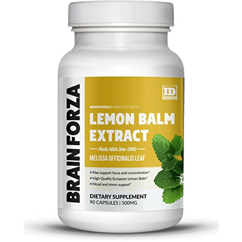Brain Forza European Lemon Balm Extract Capsules for Stress, Focus and Mood Support - Can be Used to Make Tea, 90 ()