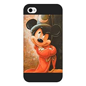 Diy Black Hard Plastic Disney Cartoon Mickey Mouse For Iphone 4/4S Case Cover case