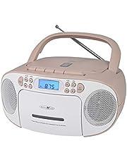 Reflexion CD-speler met cassette en radio voor net- en batterijvoeding (PLL FM-radio, LCD-display, AUX-ingang, hoofdtelefoonaansluiting), wit/roze