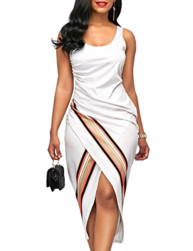 Lamilus Women's Summer Elegant Sleeveless Scoop Neck Print Casual Party Sheath Dress,Medium (Sleeveless Sheath)