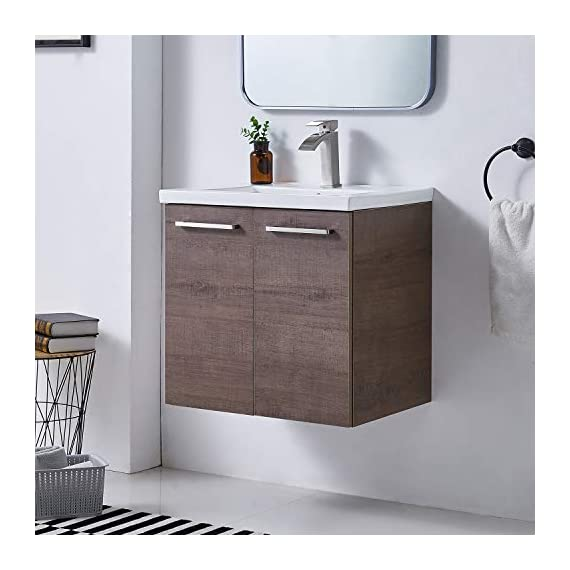 """Ufaucet Modern 21"""" Dark Brown Wood Grain Wall-Mounted Bathroom Vanity, Single 2-Door Bathroom Sink Cabinet Combo Set with Ceramic Vessel Sink - Eco-Friendly construction:MDF wood board and melamine finish. Dimensions:23.6*20.9*18.1 in. Vessal sink Size: 24*18.3*6.7 in.Shipped in two separate packages. Wall-mounted design is the best way to save your bathroom space, and avoid hygienic dead angle on the floor. - kitchen-dining-room-furniture, kitchen-dining-room, kitchen-dining-room-chairs - 41QhyX1U05L. SS570  -"""