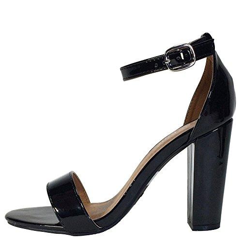 Sandalo Con Tacco Grosso In Bambù Da Donna Con Cinturino Alla Caviglia Nero Vernice Pu