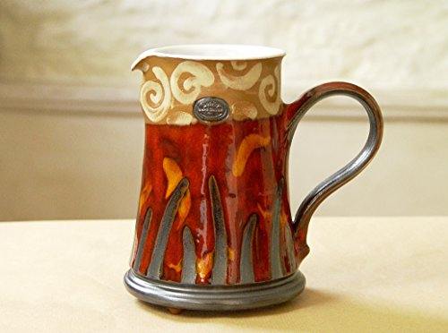(Red Ceramic Pitcher. Water Jug, Wheel Thrown Pottery, Clay Pitcher, Large Ewer, DankoPottery, Artistic pottery)