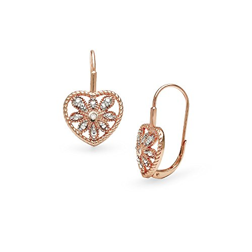 Starburst Heart (Rose Gold Flashed Sterling Silver Heart Filigree Flower Diamond Accent Leverback Drop Earrings, IJ-I3)