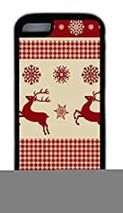 Custom Soft Black TPU Protective Case Cover for iPhone 5C,Reindeers and Snowflakes Pattern Case Shell for iPhone 5C