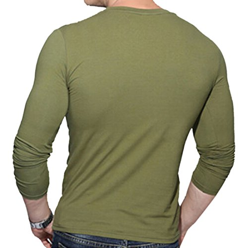 Verte Base Tops Col V Manches Longues T Chemise À Blouse Sport M Armee Automne 3xl Mince Collants Homme shirt Onv1gUxFq