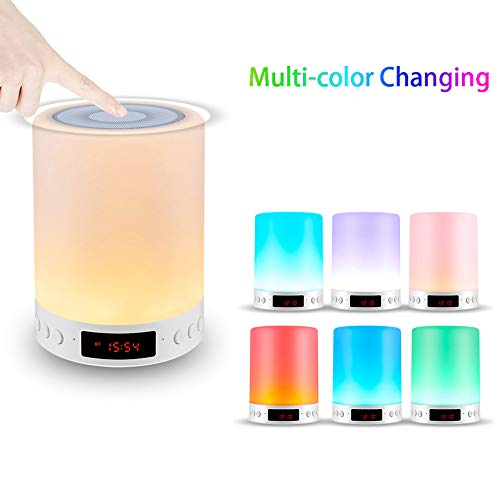 Portable Color Changing Speaker LED Bluetooth Speaker,Night Light Changing Wireless Speaker, Touch Control, Color LED wireless stereo Speaker, Bedside Table Light Speakerphone/TF Card/AUX-in Supported
