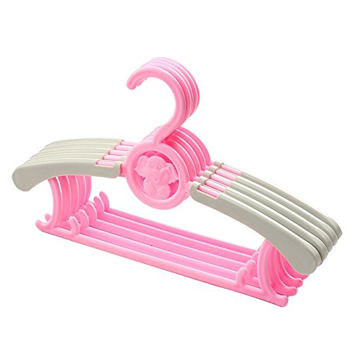 Adjustable Baby Children's Clothes Hangers Expandable Durable Cute Plastic Anti-slip Telescopic Hanger Drying Storage Hanging Rack for Kids Adults ABH01 (Pink, (Plastic Expandable Hanger)
