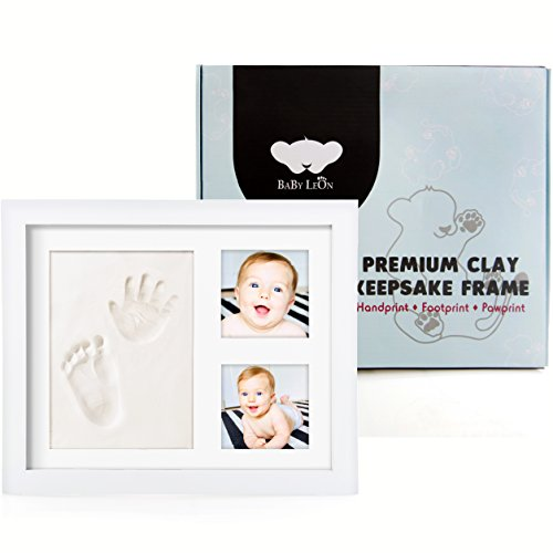 Baby Leon Premium Footprint Kit | Best Baby Shower Gift for Newborn Girls & Boys | New Mom Gift Registry | Baby Room Picture Frame Decor | Handprint & Pet Paw Print Keepsake | Safe Air Dry Clay