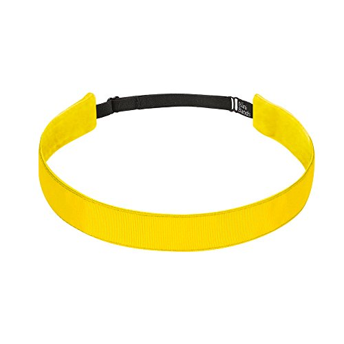 BaniBands Headbands for Women - Non Slip Adjustable Sports Head Bands - Made in USA - Perfect Headband for Active Women Stays in Place During Workout, Running, Yoga and More - Yellow -