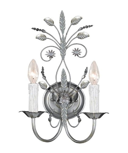 Crystorama 4702-SL Leaf, Flower, Fruit Two Light Sconces from Paris Flea Market collection in Pwt, Nckl, B/S, Slvr.finish, 6.00 (Paris Flea 2 Light Sconce)