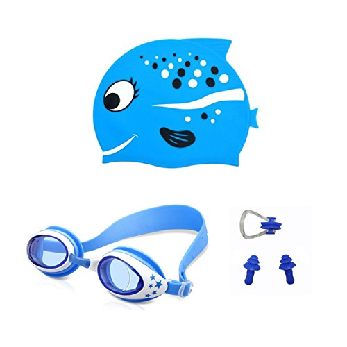AMEITECH Kids Swim Cap,Cute Design Kids Fun Silicone Swim Caps - Swim Goggles with Nose Clip and Ear Plugs for Boys and Girls - Blue