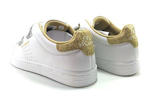 Kappa Zapatillas Velcro Niños Palavela Clasicas Blancas bco dorado