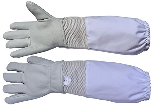 Beaver Beekeeping Gloves Goatskin Beekeeper equipment (X-Large, (White Equipment)