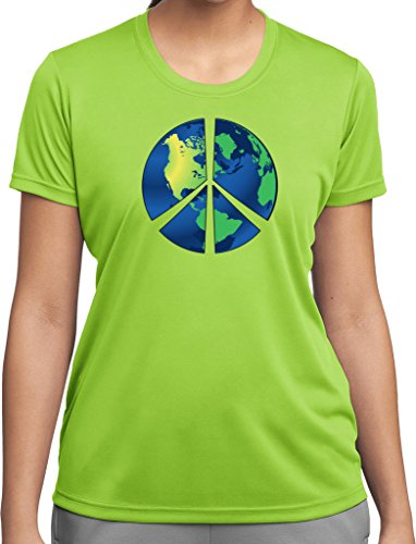 Ladies Blue Earth Peace Sign Moisture Wicking T-shirt, Lime, (Blue Peace Sign Womens T-shirt)