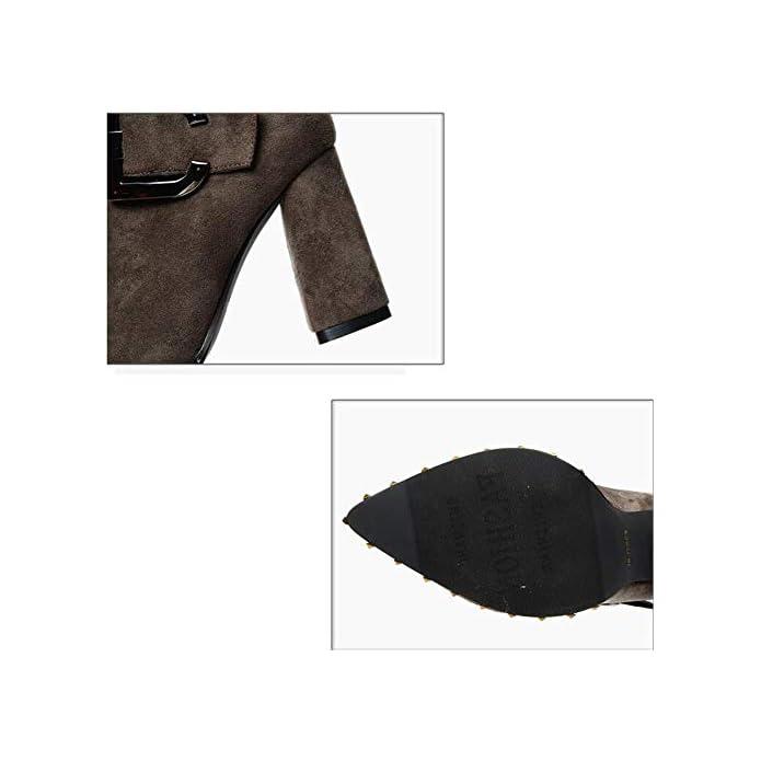 Mhcdxgn Stivali Di Tacco Spessore Moda Europea E Americana Donna Autunno Inverno Punta In Pelle Scamosciata Fibbia Rivetto Alto Martin