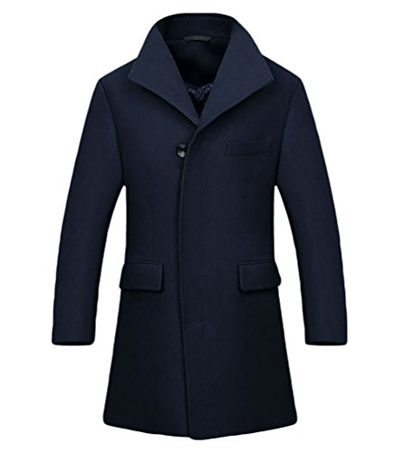 Classic Trench Coats Fit Duffle Single Coat Thick NiSeng Business Overcoats Navy Breasted Winter Men's Slim Jacket Long nSqPxRwHXf