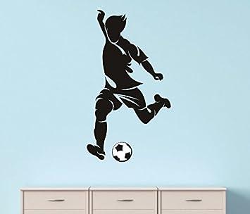 Design With Vinyl Rad 1211 3 Soccer Player Kick Ball Boy Girl Teen Kids Vinyl Wall Decal 20 X 30 Black Home Improvement