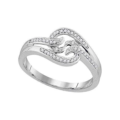 Diamond Swirl Cocktail Ring Solid 10k White Gold Fashion Band Round Pave Set Curve Design Fancy 1/10 ctw ()