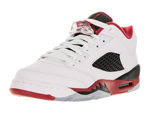 Nike Air Jordan 5 Retro Low (Gs), Zapatillas De Baloncesto para Niños Blanco / Rojo / Negro (White / Fire Red-Black)
