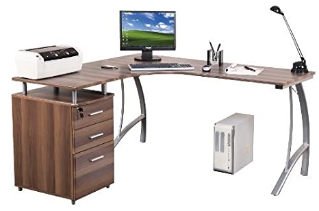 Hjh office castor scrivania ad angolo con cassetti walnuss silber