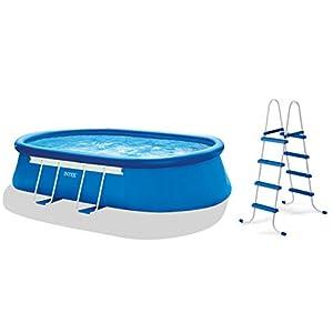 intex oval frame pool set 18 feet by 10 feet. Black Bedroom Furniture Sets. Home Design Ideas