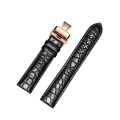 eather Watch Bands with Rose Gold Deployment Buckle for Men and Women 18mm-24mm (Genuine Alligator)