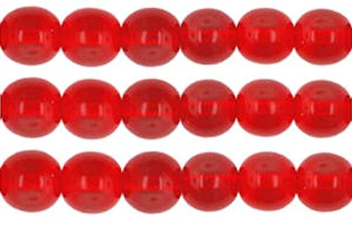 Red Round Glass Beads, Sizes 8mm, 6mm and 4mm. Not Painted or Coated, Goes Well with Cat's Eye Beads. Craft, Jewelry and DIY Projects. (8mm - 50 Beads)