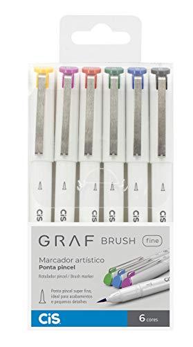Marcador Artístico Ponta Pincel, CiS, Graf Brush Fine, 59.9500, 6 Cores